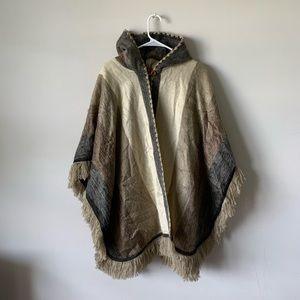 Anthro boho fringe hooded cape poncho